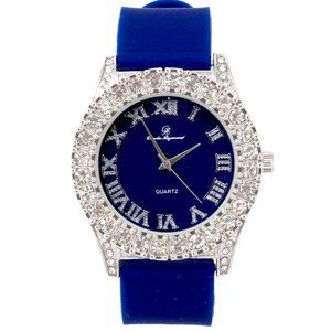 Men Iced Out Watch Blue/Silver